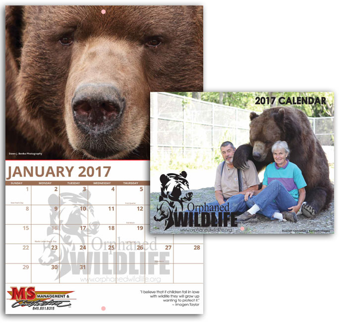 Orphaned Wildlife Custom Calendar 2017 Photo Calendars