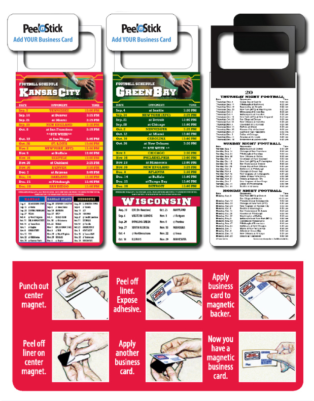 2018 Magnetic Business Card Pro Football Schedule (Bulk) Calendar ...