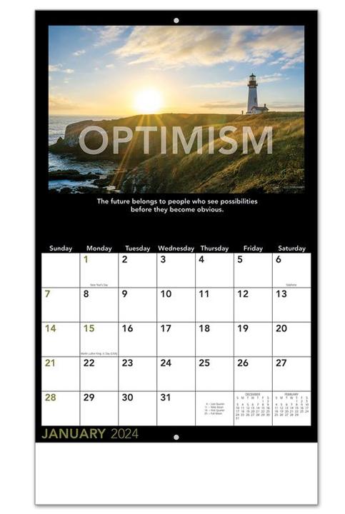 Staples Calendar 2022.2022 Motivational Calendar 10 1 2 X 18 1 4 Personalized Staple Bound Drop Ad Imprint Appointment Calendars