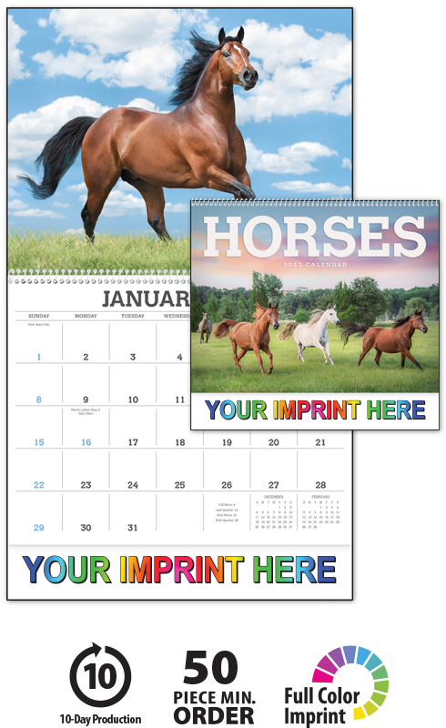 Horse Calendar 2022.2022 Horses Calendar 11 X 19 Imprinted Spiral Bound Drop Ad Imprint Calendars