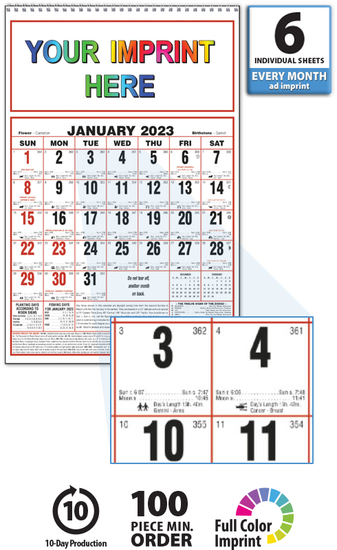 Madison : Almanac calendar