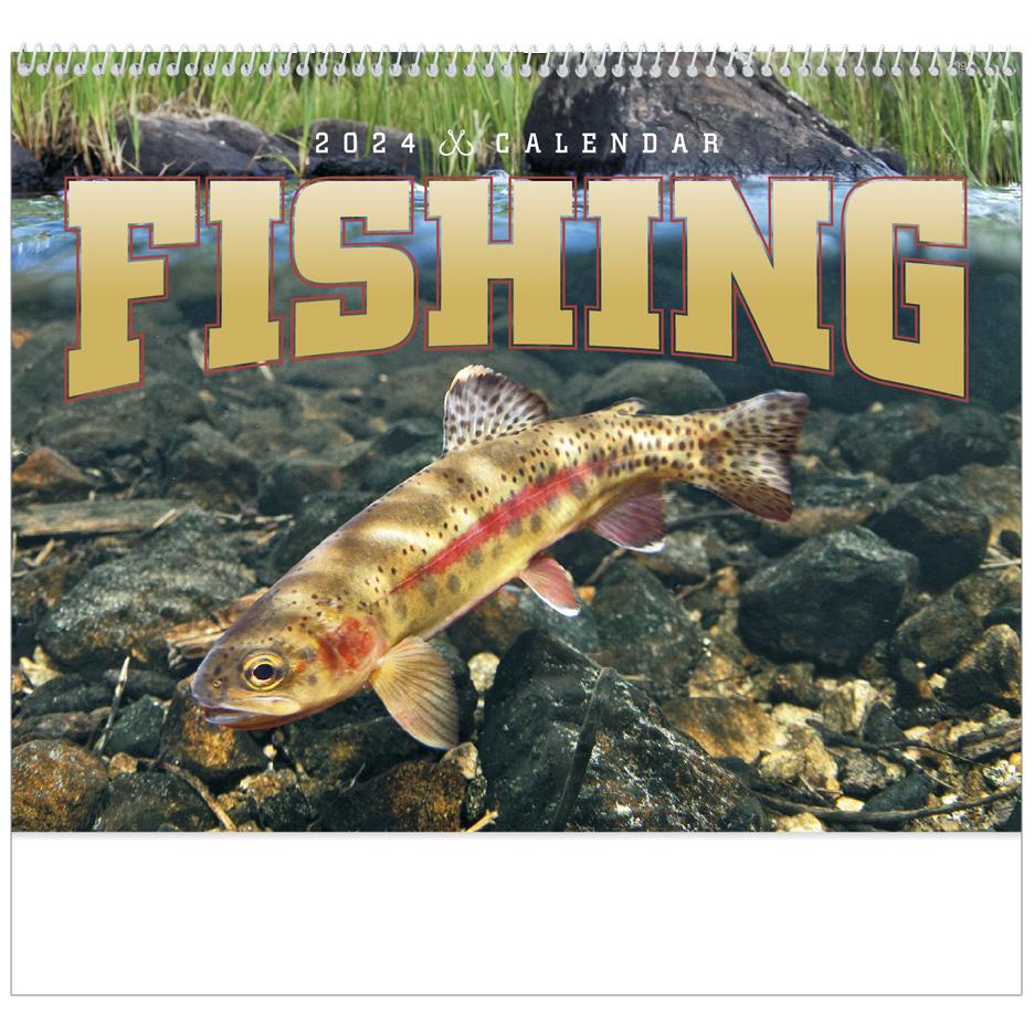 2022 Fishing Spiral Calendar 11 X 19 Imprinted Spiral Bound Drop Ad Imprint Calendars