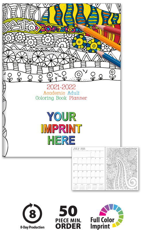 Academic Adult Coloring Book Planner | ValueCalendars.com