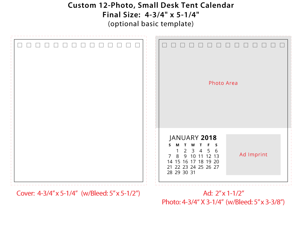 2018 Custom 12 Small Desk Tent Calendar