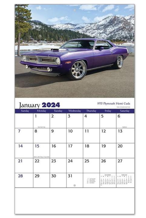 2019 muscle car calendar 10 1 2 x 18 1 4 customized staple bound drop ad imprint