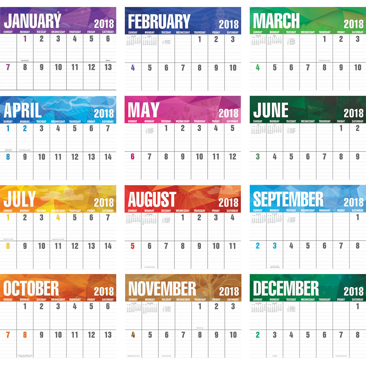 Get Free 2019 Printable Calendar with US & UK Holidays ...