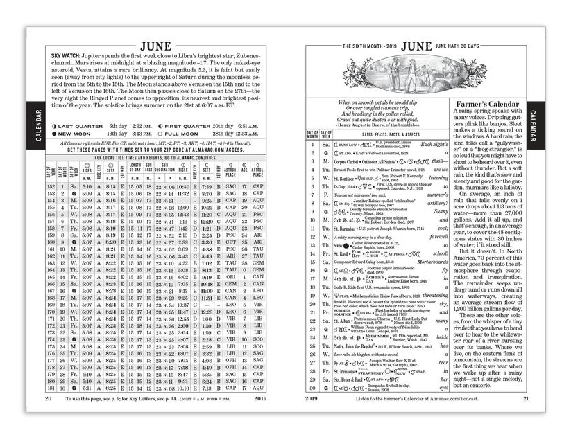 Farmers almanac calendar printable 2018 the old farmer s for Farmers almanac fishing calendar