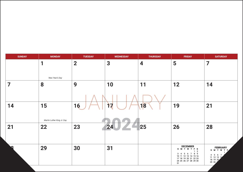 Custom Desk Pad Calendar (17x12, 12-Sheet)   ValueCalendars.com
