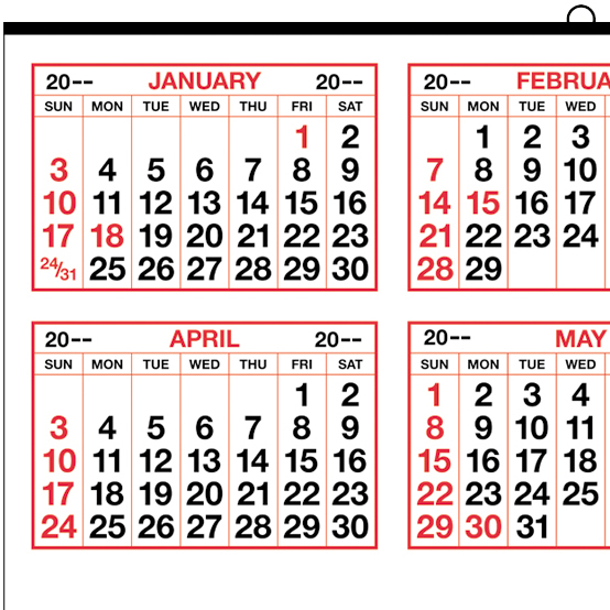 """2017 Year-at-a-Glance (Middle) Calendar   19-1/2"""" x 27"""" Commercial ..."""