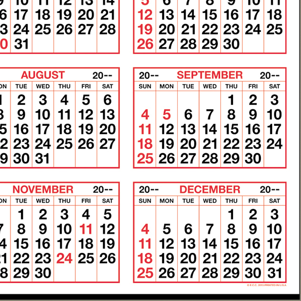 "Year-at-a-Glance (Top) Calendar | 19-1/2"" x 27"" Commercial Full Year ..."