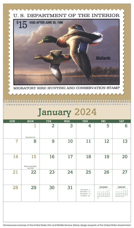 2020 duck stamps calendar