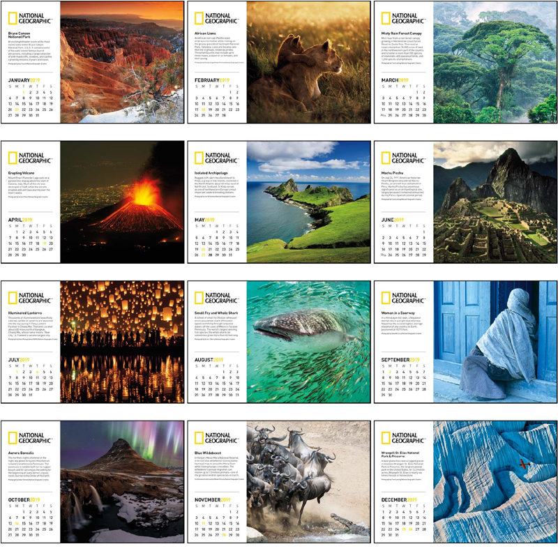2019 National Geographic Photography Large Desk Calendar