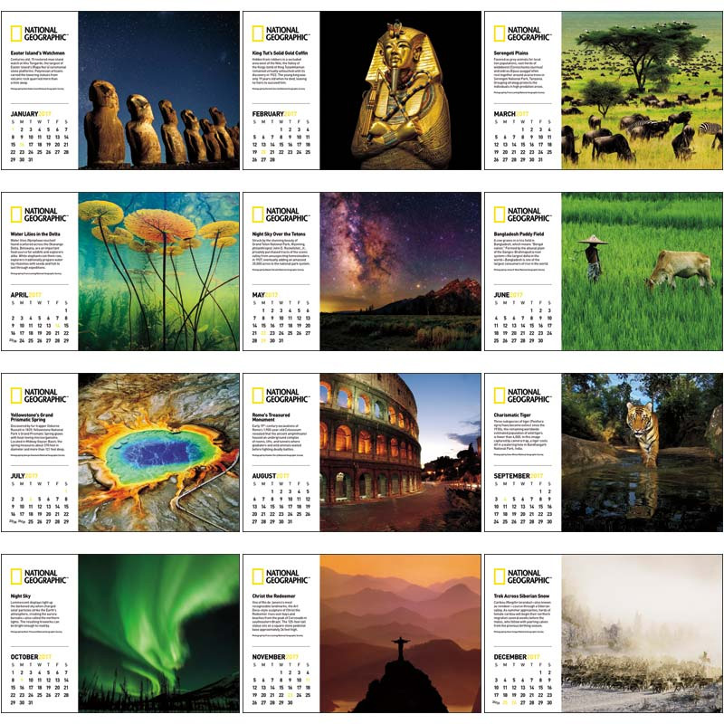 Desk Calendar Photography : National geographic photography large desk calendar
