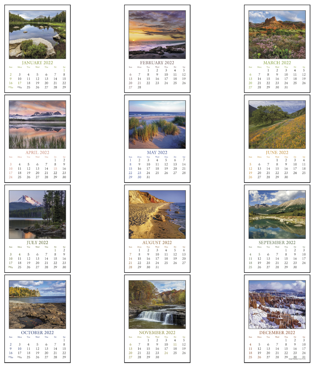 2017 Full Color Stick Up Scenic Calendar Approx 3 Quot X 6