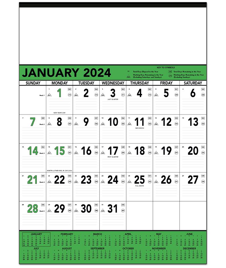 Calendar Green : Green black contractor memo calendar quot