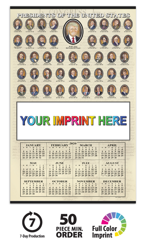 2020 Presidents Span A Year Calendar 18 Quot X 28 Quot Imprinted