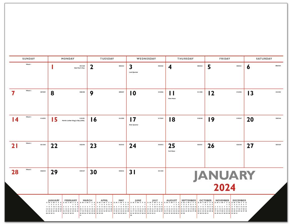 Calendar Red : Red black desk pad calendar quot deskpad