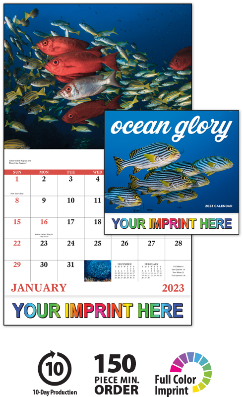 2019 Ocean Glory Calendar 11 Quot X 19 Quot Imprinted Staple