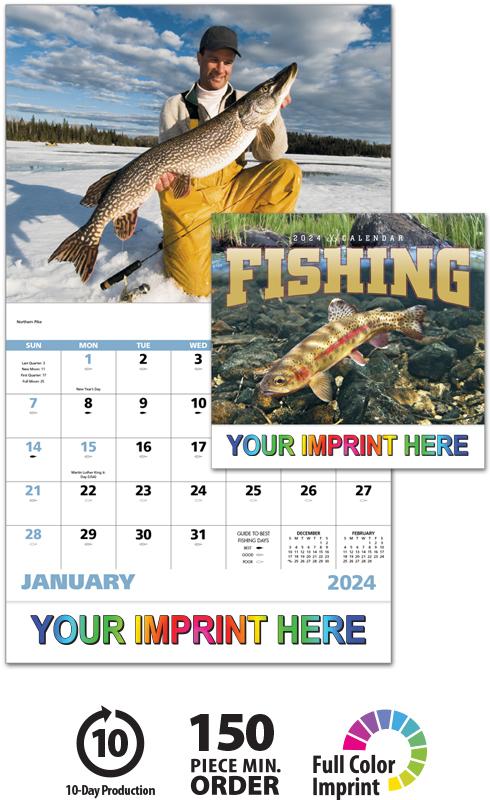 2020 Fishing Calendar 11 Quot X 19 Quot Imprinted Staple Bound