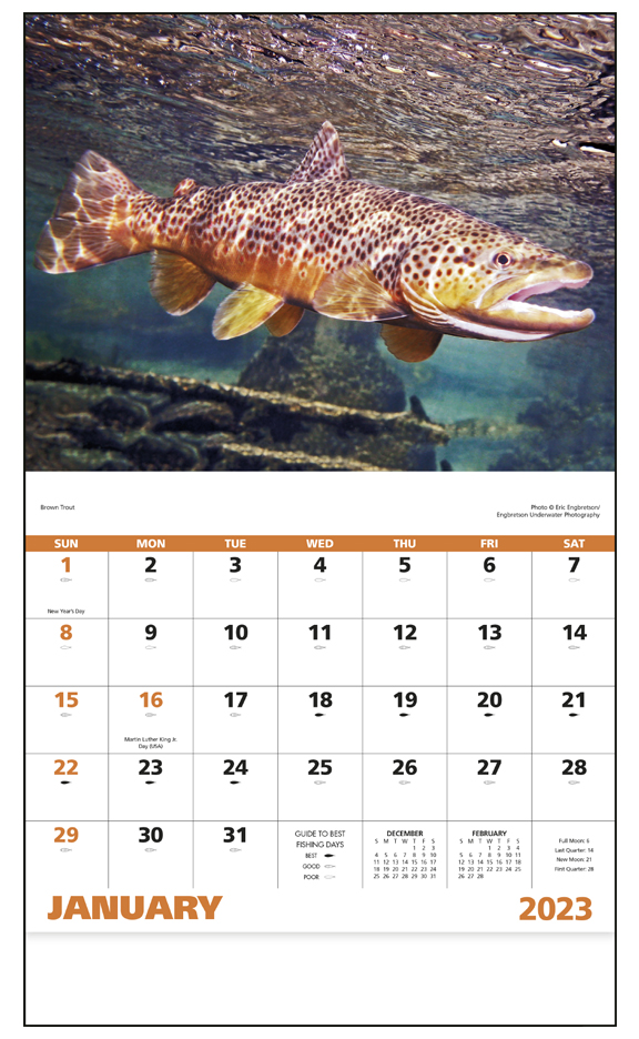 2019 Fishing Calendar 11 Quot X 19 Quot Imprinted Staple Bound