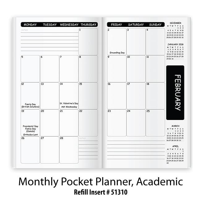 Academic Calendar Planner Refill : Refill stock insert monthly pocket planner academic