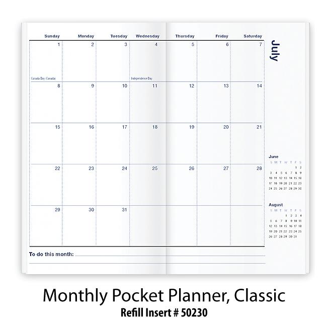 refill stock insert monthly pocket planner classic
