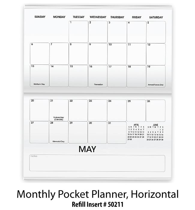 refill stock insert monthly pocket planner horizontal