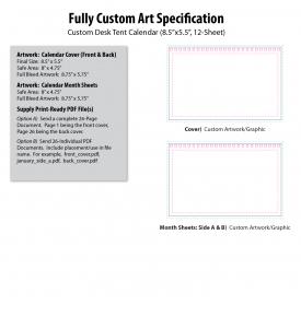 Custom Desk Tent Calendar (8.5x5.5, 12-Sheet)
