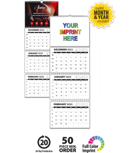 Single Photo, 3-Month/4-Panel Wall Calendar