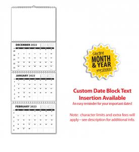 Single Photo, 3-Month/4-Panel Wall Calendar