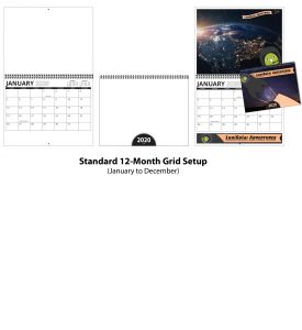 Custom Photo Wall Calendar (11x17, Metal Twin-Loop, 12-Month 'BASIC' Grid)
