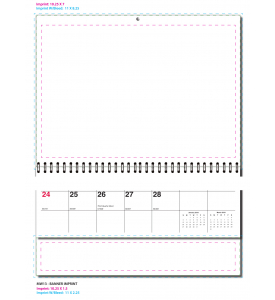 Single Image 3-Month View Large Calendar with Drop-Ad