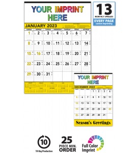 Contractor Memo Calendar, Yellow & Black