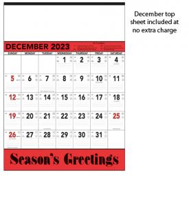Contractor Memo Calendar, Red & Black