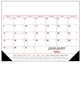 Desk Pad Calendar, Red & Black