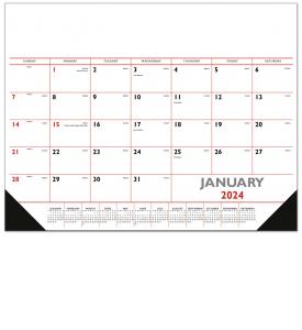 Desk Pad Calendar, Red & Black