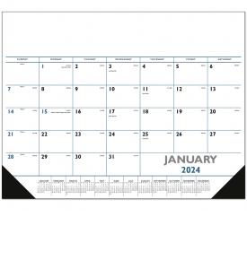Desk Pad Calendar, Black & Blue