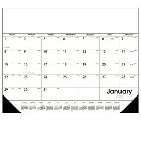 Desk Pad Calendar, Black & White
