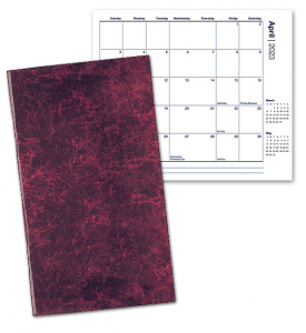 Affordable SEAM Stitched Marble Pocket Planner, Monthly