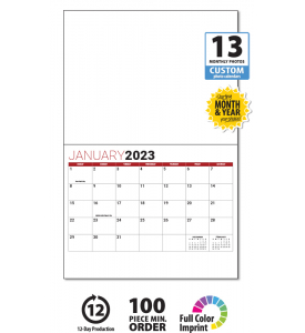 13-Month Custom Photo Wall Calendar, Stapled