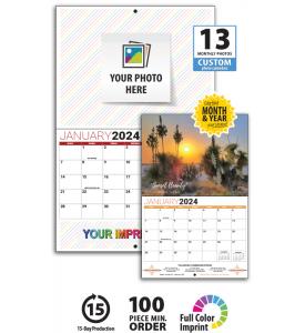 13-Month Custom Photo Wall Calendar, Stapled
