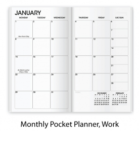 Affordable SEAM Colors Stitched Pocket Planner, Monthly